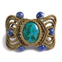 Turquoise and lapis macrame bracelet