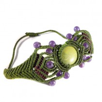 Serpentine and amethyst macrame bracelet