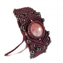 Red obsidian & hematite macrame bracelet