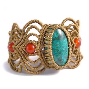 Turquoise & carnelian macrame bracelet