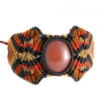 Red obsidian macrame bracelet