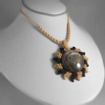 Silver obsidian Sun macrame necklace