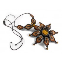 Tiger eye mandala macrame necklace