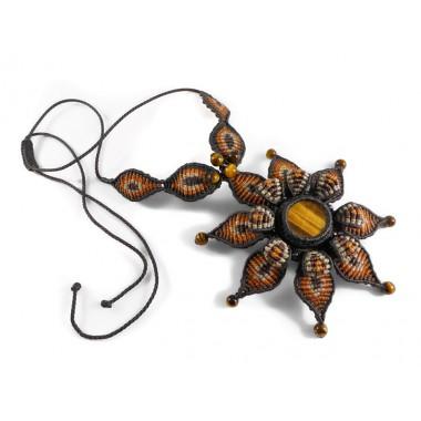 Tiger eye mandala macrame necklace