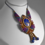 Lapislazuli and amethyst macrame necklace