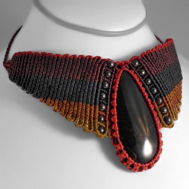 32a4d9e43fc7 Collar macramé obsidiana negra y hematita